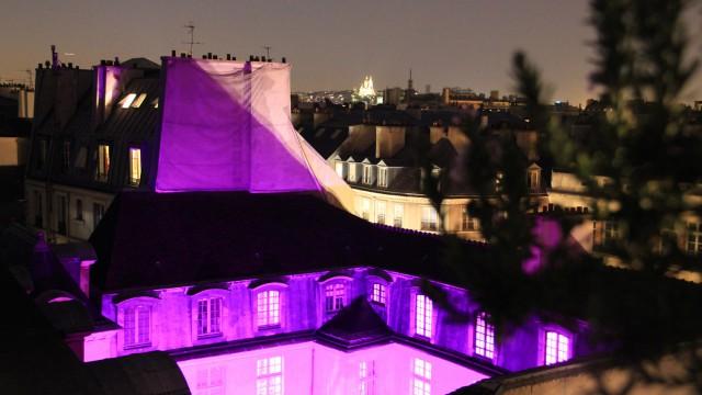 """L'Hôtel d'Albret, un soir de « Nuit Blanche ». Hôtel d'Albret, during a """"White Night""""."""